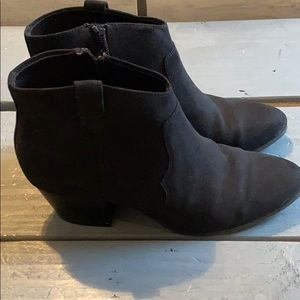 Black suede booties from old navy size 6